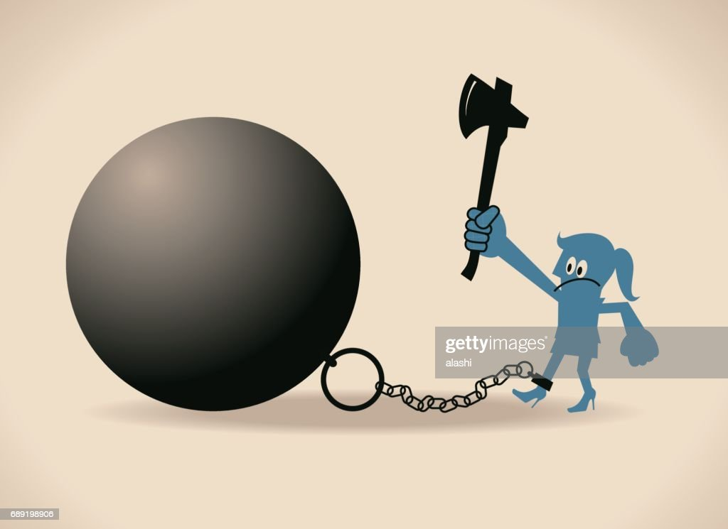 Businesswoman (woman, girl) is locked in a big iron ball and chain, she is trying to cut chain by an axe to escape from it : Stock Illustration