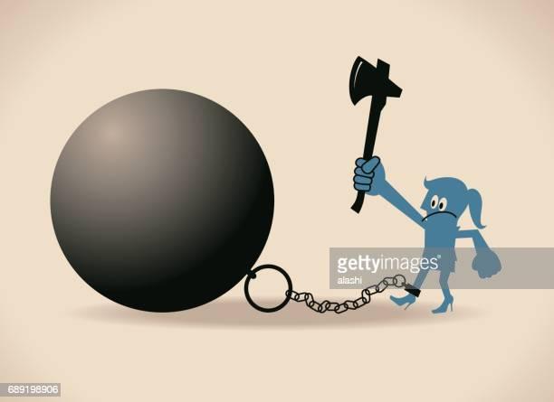 ilustraciones, imágenes clip art, dibujos animados e iconos de stock de empresaria (mujer, muchacha) es encerrada en una bola de hierro grande y cadena, ella está tratando de cortar la cadena por un hacha para escapar de él - bola de hierro y cadena