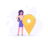 Businesswoman is standing close to big map pointer. Our office location. Vector illustration.