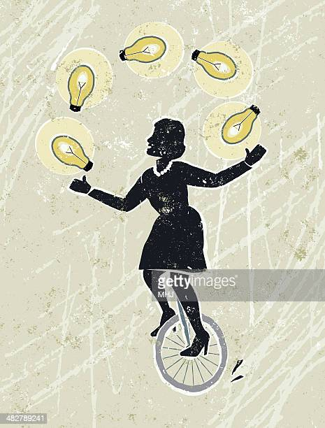 businesswoman juggling idea light bulbs on unicycle - unicycle stock illustrations, clip art, cartoons, & icons