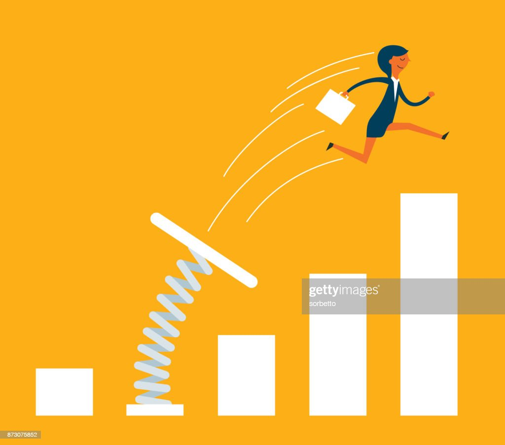 Businesswoman jumping from springboard : stock illustration