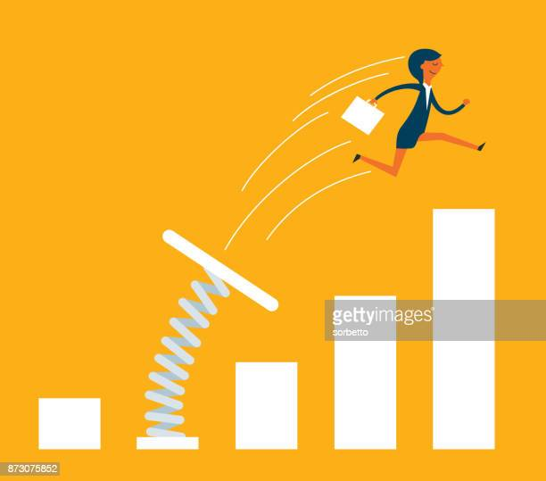 businesswoman jumping from springboard - growth stock illustrations