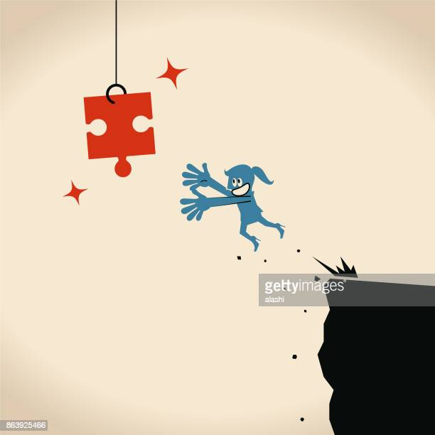 businesswoman jumping off cliff (abyss) for a hanging jigsaw piece - crag stock illustrations, clip art, cartoons, & icons