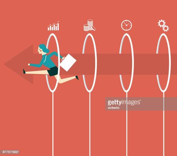 businesswoman jumping through hoops - plastic hoop stock illustrations