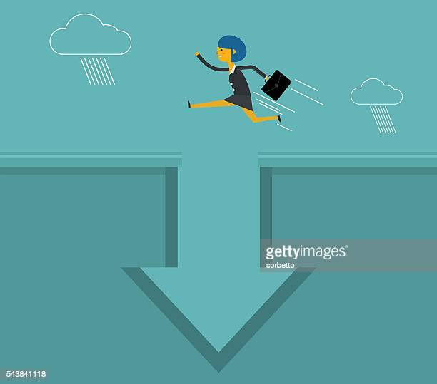 businesswoman jumping - long jump stock illustrations