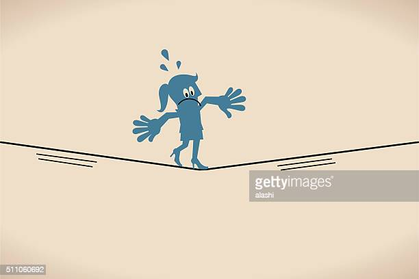 businesswoman keeping her balance walking on tightrope - steel cable stock illustrations, clip art, cartoons, & icons