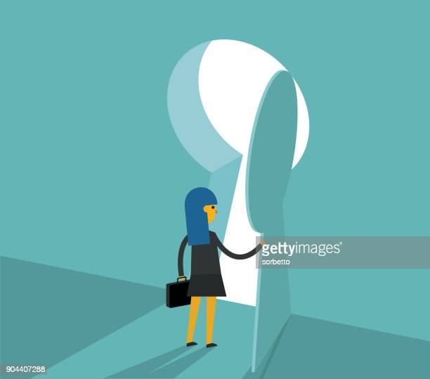 businesswoman - keyhole - leaving stock illustrations