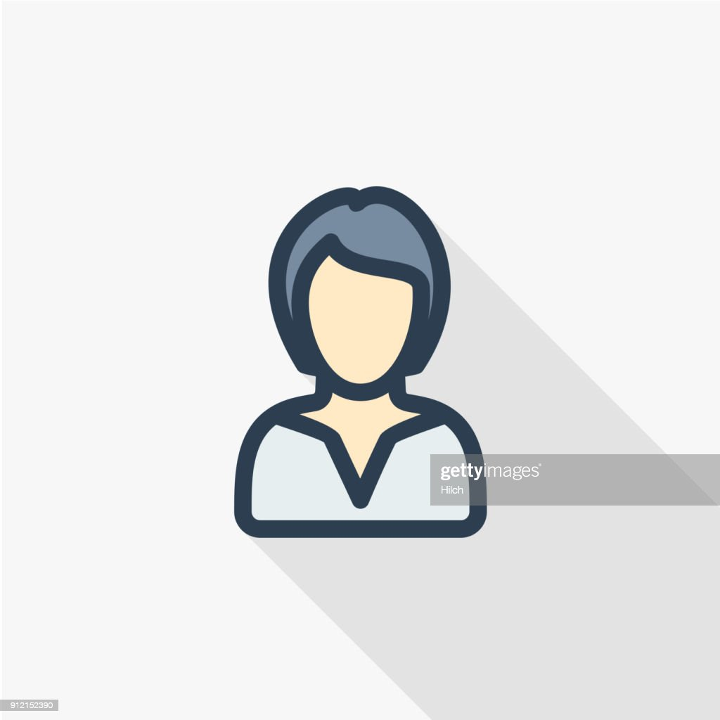 businesswoman, lady avatar, business thin line flat color icon. Linear vector symbol. Colorful long shadow design.