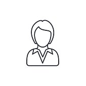 businesswoman, lady avatar, business thin line icon. Linear vector symbol