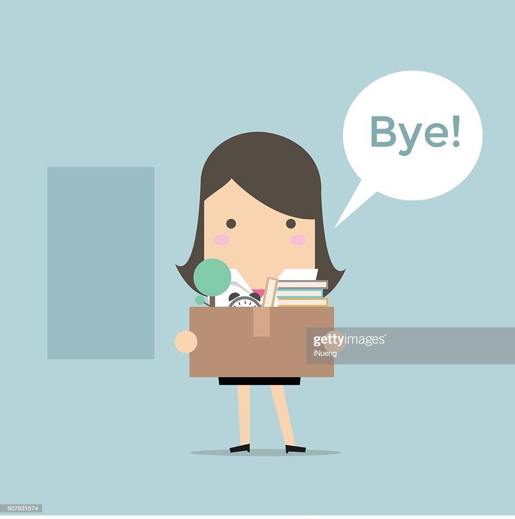 Businesswoman Leaving Job vector