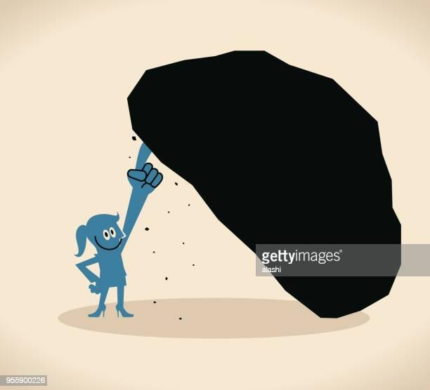 片手 (人差し指) で大きな石を持ち上げる実業家 - 巨礫点のイラスト素材/クリップアート素材/マンガ素材/アイコン素材