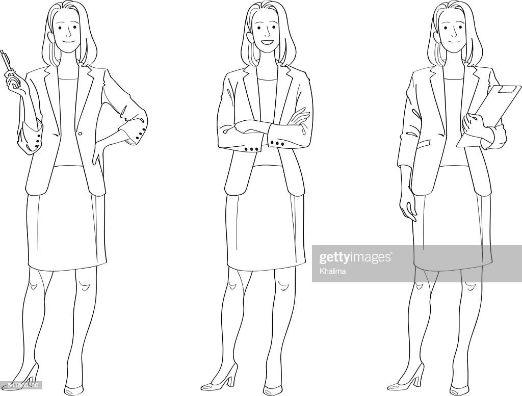 Businesswoman Line Drawing
