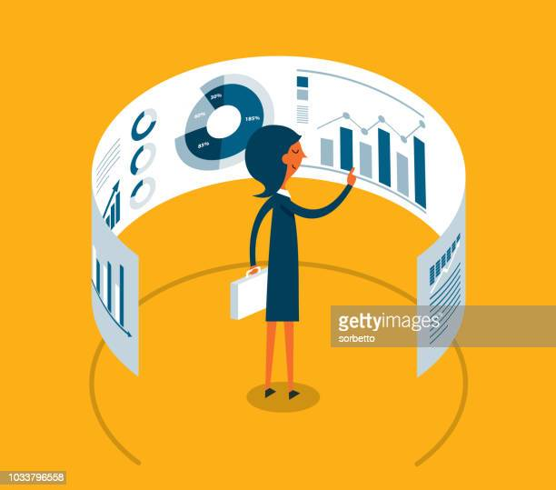 businesswoman looking at data in front of electronic display - accountancy stock illustrations