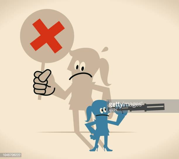 businesswoman looking through hand-held telescope but her shadow showing a cross shape sign (wrong mark) - wrong way stock illustrations