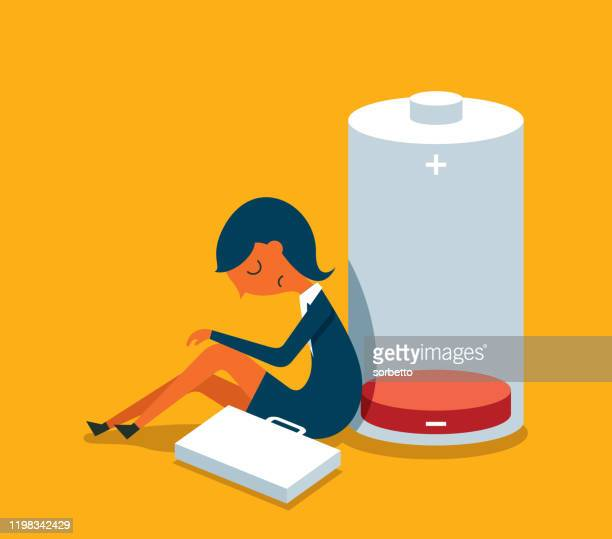 businesswoman - low energy battery - toughness stock illustrations
