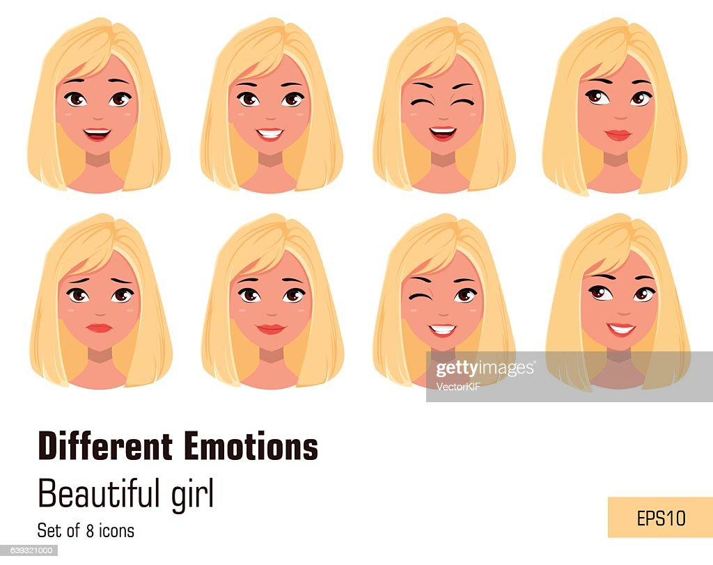 Businesswoman making different face gestures. Young attractive girl, various emotions.