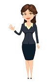 Businesswoman making greeting gesture. Cute cartoon character. Vector illustration isolated on white background