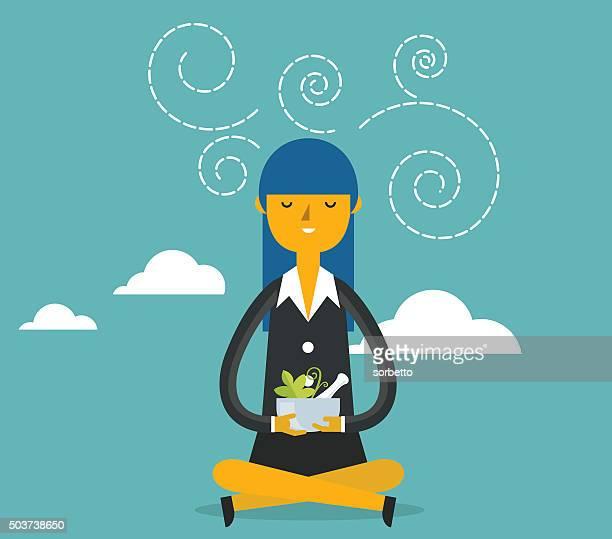 Femme d'affaires de méditation
