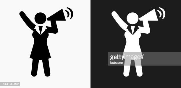 Businesswoman Megaphone Icon on Black and White Vector Backgrounds