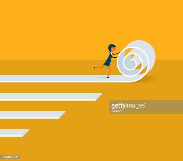 businesswoman moving business forward - initiative stock illustrations