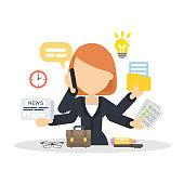 Businesswoman multitasking at work place.