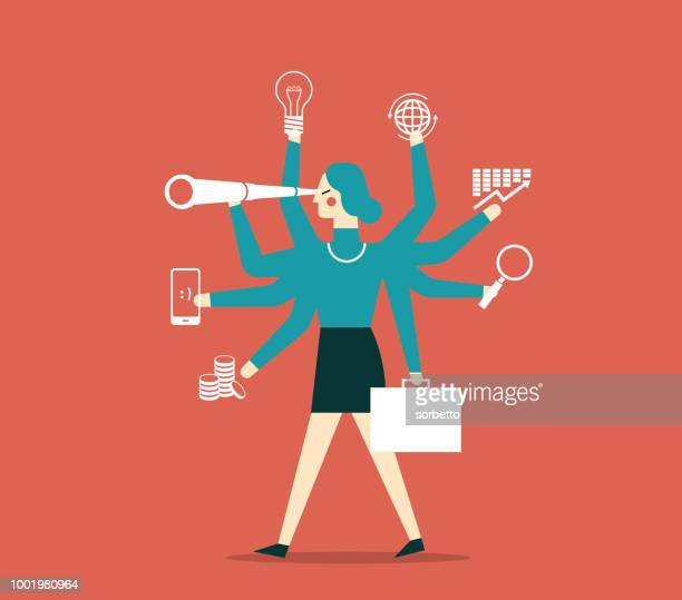 businesswoman multitasking with multiple arms - multitasking stock illustrations