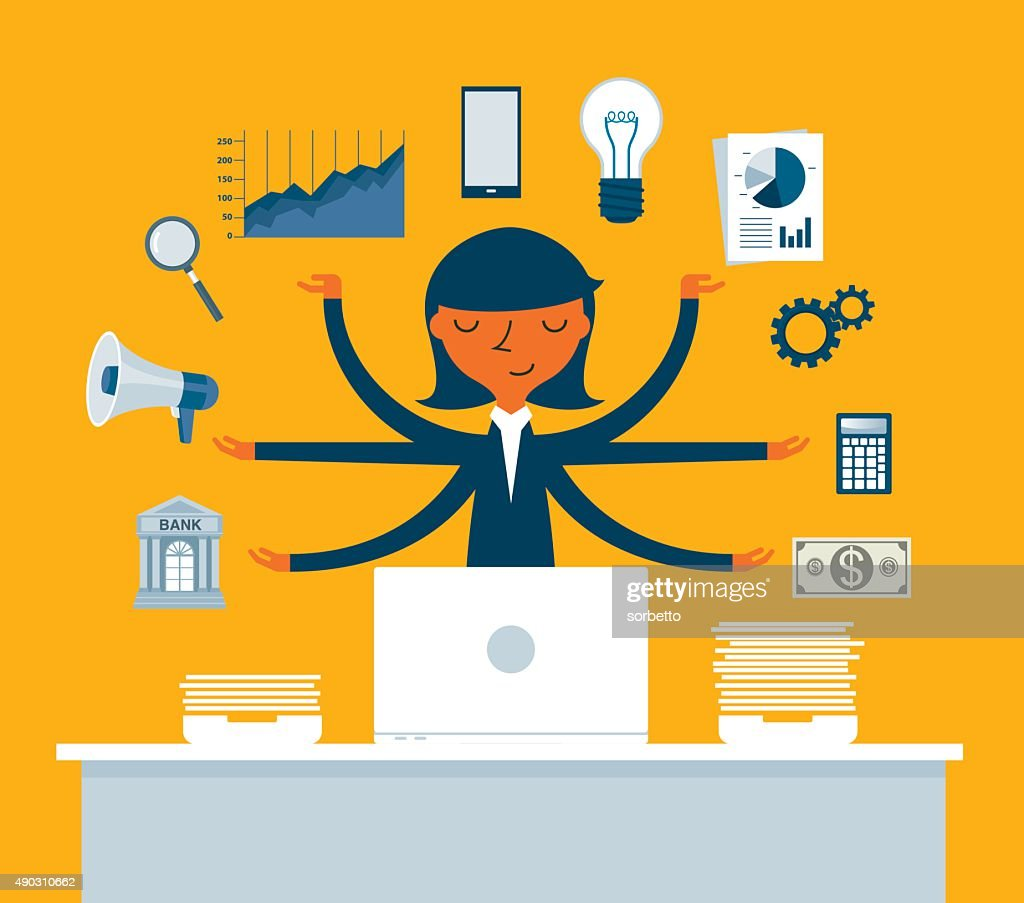 Businesswoman Multitasking with Multiple Arms : Stock Illustration