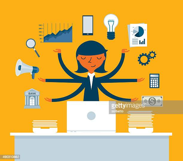 businesswoman multitasking with multiple arms - professional occupation stock illustrations