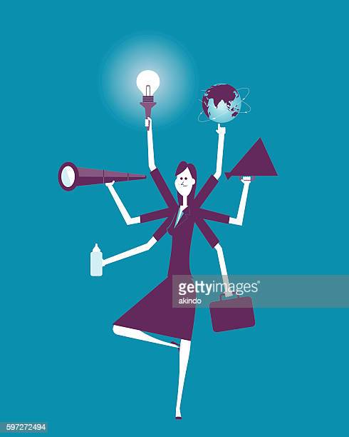 Businesswoman Multitasking with Multiple Arms