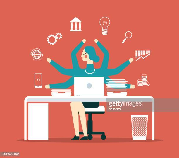 businesswoman multitasking with multiple arms - multi tasking stock illustrations