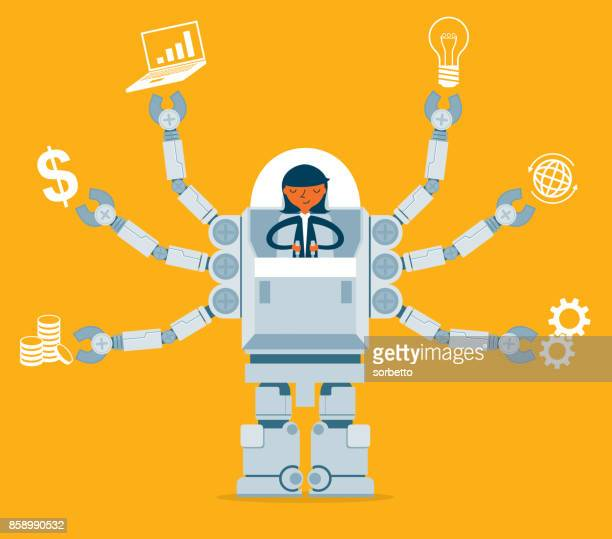 businesswoman multitasking with robot - control stock illustrations
