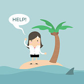 Businesswoman need help on the small island.