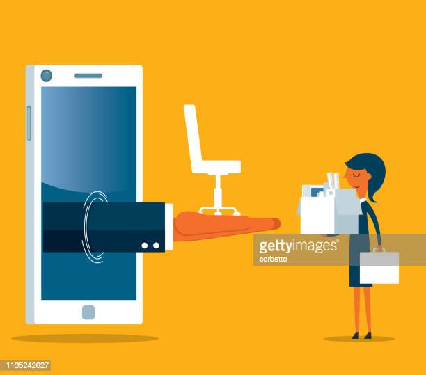 businesswoman - new job - smartphone - job search stock illustrations