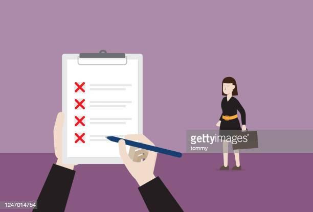 businesswoman not pass a job interview - candidate stock illustrations