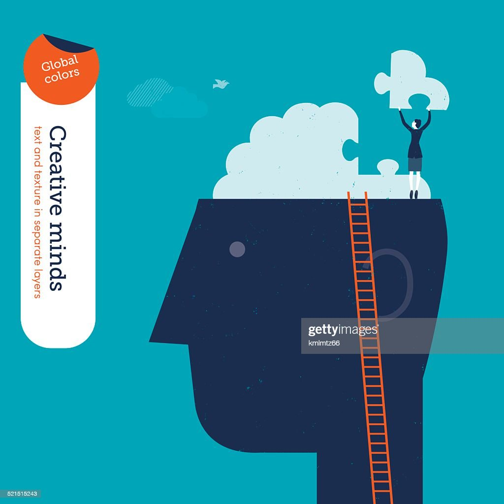 Businesswoman on head with brain puzzle