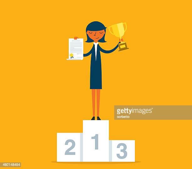 geschäftsfrau auf podium - winners podium stock-grafiken, -clipart, -cartoons und -symbole