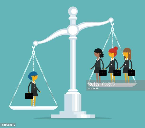 businesswoman on scales - scales stock illustrations