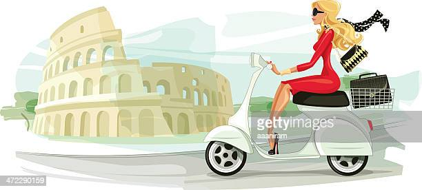 Businesswoman on Scooter in Rome