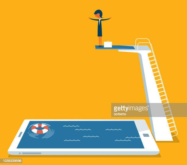 businesswoman on springboard - diving stock illustrations