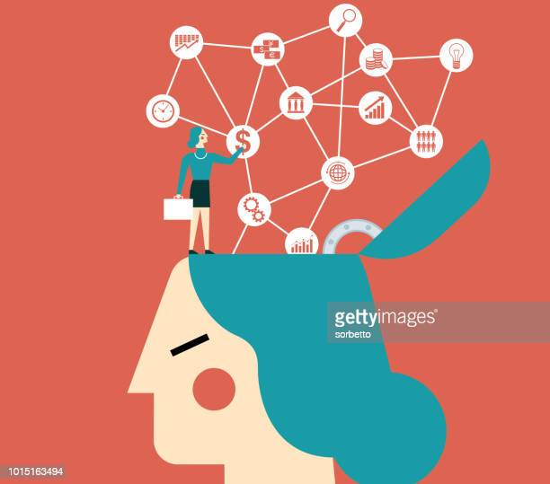 Businesswoman on top of a head with icons