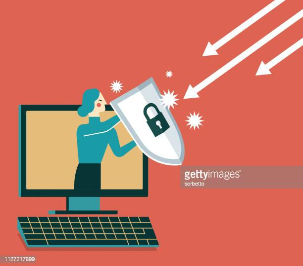 businesswoman out from a computer with a shield - defending stock illustrations