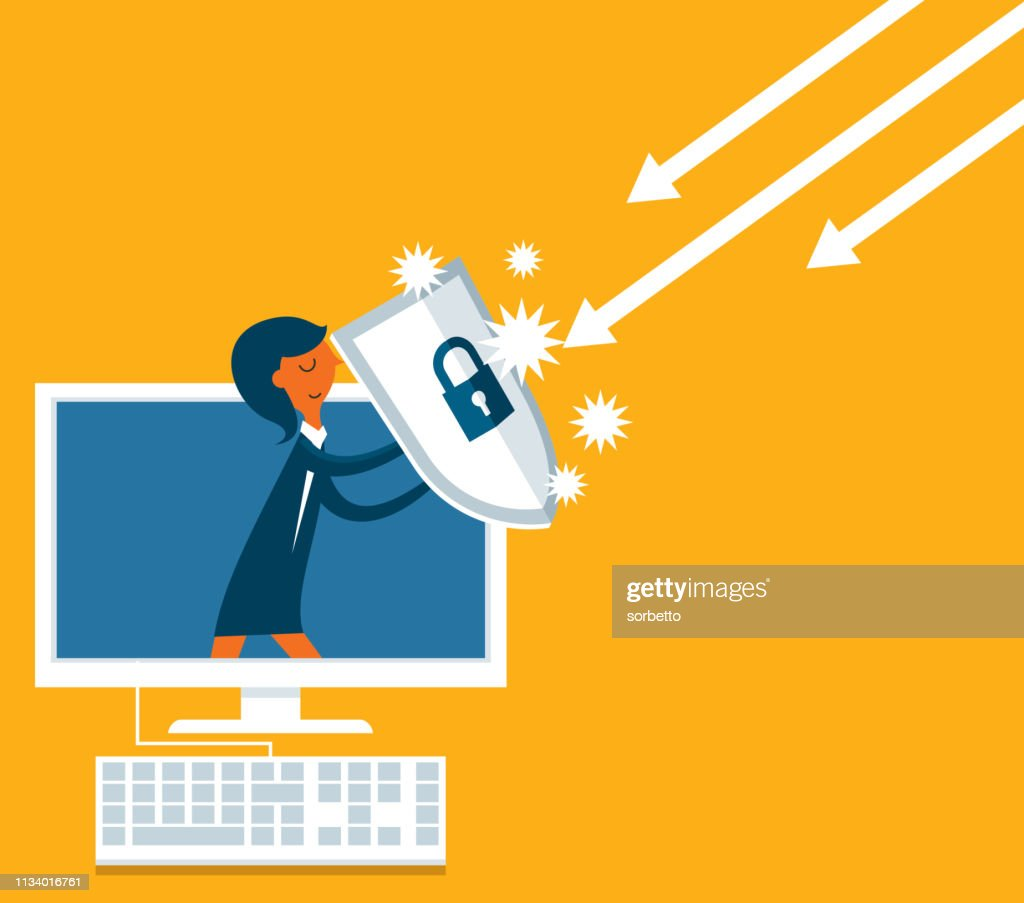 Businesswoman out from a computer with a shield : stock illustration