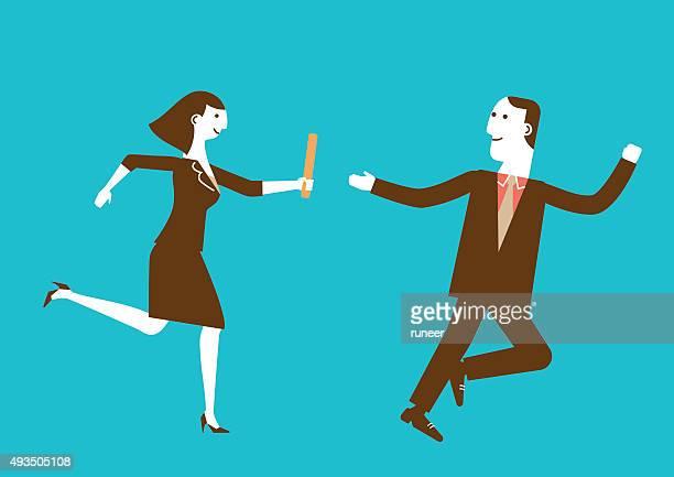 Businesswoman Passes Baton to Businessman | New Business Concept