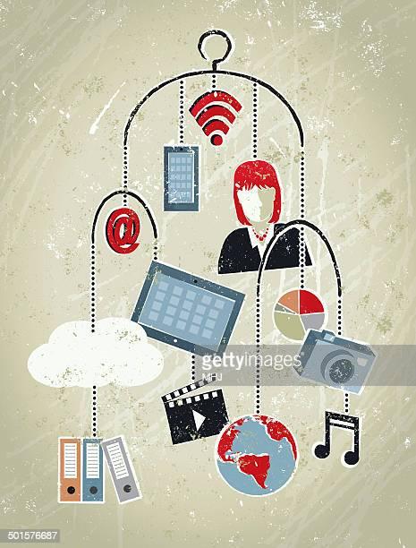 ilustrações, clipart, desenhos animados e ícones de mulher de negócios, telefone, tablet, mundo, nuvem e ícones.  dados de celular - mobile phone