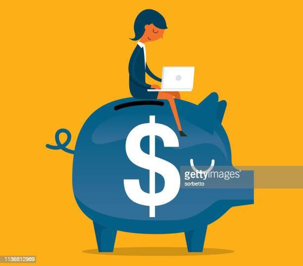 illustrations, cliparts, dessins animés et icônes de femme d'affaires-tirelire-investissement - retraite