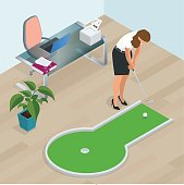 Businesswoman playing mini golf in his office. Perfect for products such as t-shirts, pillows, album covers, websites, flyers, posters or any design