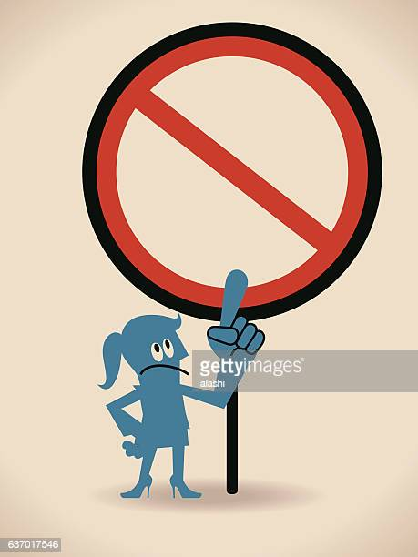businesswoman (politician) pointing at an empty prohibition sign - forbidden stock illustrations