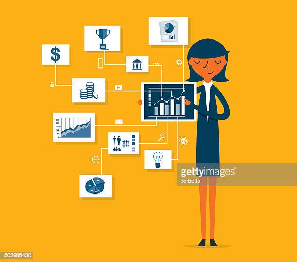businesswoman pointing at chart and presentation - money manager stock illustrations, clip art, cartoons, & icons