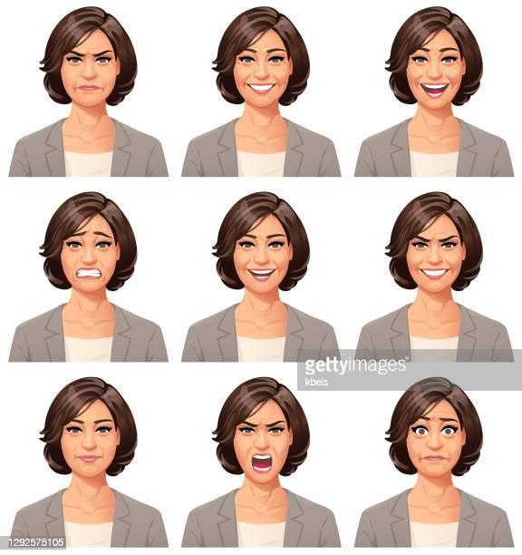 geschäftsfrau portrait- emotionen - gesichtsausdruck stock-grafiken, -clipart, -cartoons und -symbole