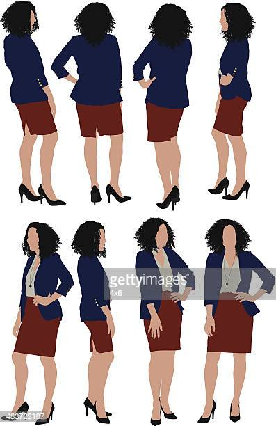 businesswoman posing with hands on hips - arms akimbo stock illustrations